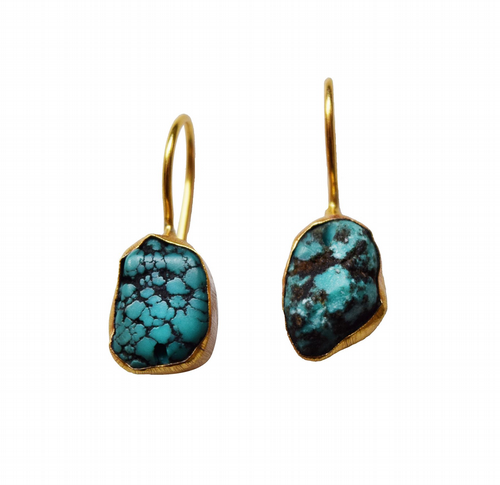 Raw Stone Drop Earrings - Tibetan Turquoise